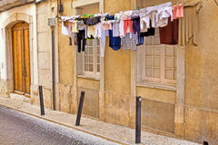 Lisbon old facade, detail of an old street Stock Images