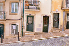Lisbon old facade, detail of an old street Stock Photo