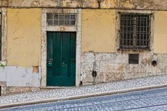 Lisbon old facade, detail of an old street portugal, tourism.  Stock Photo
