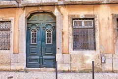 Lisbon old facade, detail of an old street portugal, tourism.  Stock Photos