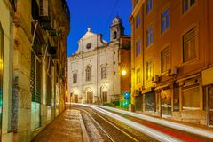 Lisbon. Old street at night. Royalty Free Stock Images