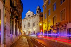 Lisbon. Old street at night. Royalty Free Stock Photography