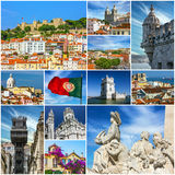 Lisbon old town landmarks collage, Portugal Royalty Free Stock Images