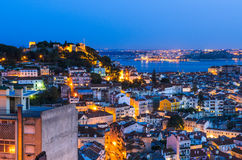 Lisbon old town at night, Portugal Stock Image