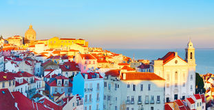 Lisbon Old Town panorama, Portugal Royalty Free Stock Image