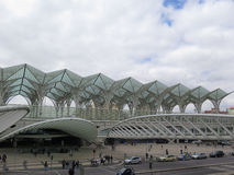 Lisbon Oriente Railway Station. Lisbon, Portugal, March 16th 2016. Impressive glass roof on Oriente Railway Station Royalty Free Stock Photos