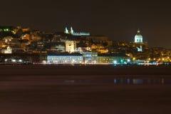 Lisbon på natten Royaltyfria Bilder