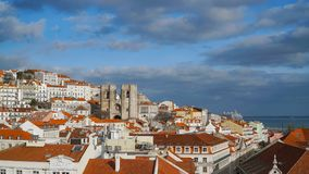 Lisbon Panorama. Aerial view. Lisbon is the capital and the largest city of Portugal. Lisbon is continental Europe`s westernmost Royalty Free Stock Images