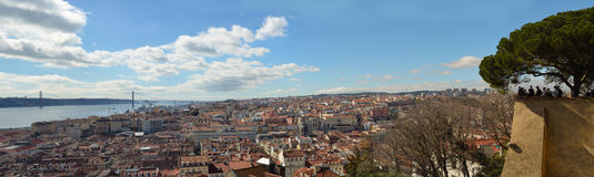 Lisbon Panorama from the Castelo de Sao Jorge over the Baixa district. Stock Image
