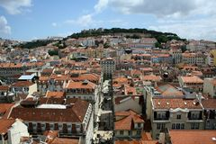 Lisbon panorama. Panorama of Lisbon with castle Stock Image