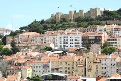 Lisbon panorama. Panorama of Lisbon with castle stock photo