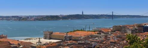 Lisbon. Panorama of Lisbon with hanging bridge Royalty Free Stock Photos