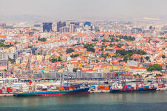 Lisbon panorama from the National Sanctuary of Christ the King Stock Photos