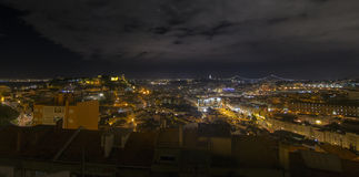 Lisbon panorama at night Royalty Free Stock Images