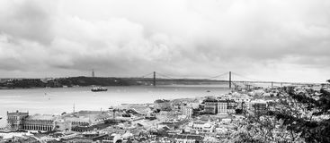 The Lisbon Panorama. A panorama of Lisbon with the river and the 25 de Abril bridge stock images