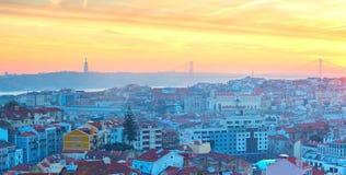 Lisbon panorama at sunset, Portugal Stock Image