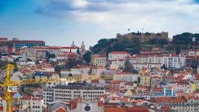 Lisbon panorama widok z lotu ptaka Lisbon jest kapitałem i wielkim miastem Portugalia Lisbon jest kontynentalnym Europa ` s weste Obrazy Royalty Free