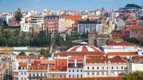Lisbon panorama widok z lotu ptaka Lisbon jest kapitałem i wielkim miastem Portugalia Lisbon jest kontynentalnym Europa ` s weste Fotografia Royalty Free