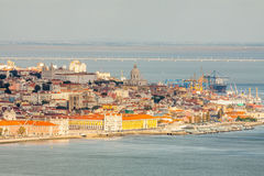 Lisbon Panoramic View. From Almada, Portugal Royalty Free Stock Photos