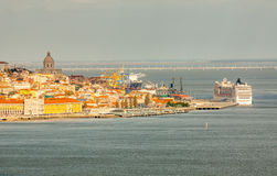 Lisbon Panoramic View. From Almada, Portugal Royalty Free Stock Image