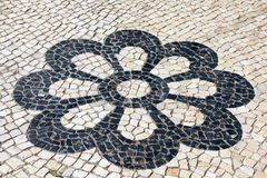 Lisbon Pavement Blossom Royalty Free Stock Image