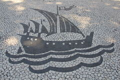 Lisbon Pavement Sailing Vessel Stock Images