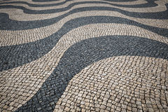 Lisbon pavement waves Handmade pavement in Lisbon, Portugal. Royalty Free Stock Photos