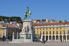 Lisbon placa do comercio. On 1 November 1755 a great earthquake followed by a tsunami and fire destroyed most of Lisbon, including the Ribeira Palace and other stock photos
