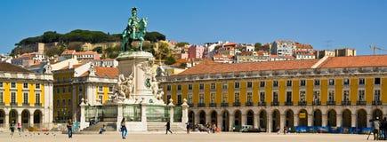 Lisbon Placa do Comercio. Placa do Comercio with Lisbon Castle in the background, Lisbon royalty free stock photography