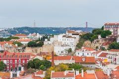 Lisbon pomarańcze zadasza widok z lotu ptaka Obrazy Royalty Free