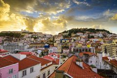 Lisbon, Porgual Dawn Skyline Stock Photography