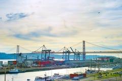 Lisbon portu przegląd Portugalia Fotografia Royalty Free
