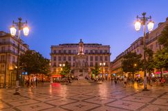 Sunset over Luis de Camoes square in Lisbon, Portugal. stock photos