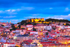 Lisbon, Portugal. Panorama of Lisbon, Portugal with the Castle of Sao Jorge Stock Images