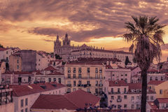 Lisbon, Portugal: aerial view the old town, Alfama Royalty Free Stock Images