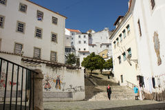 Lisbon, Portugal: Alfama, S. Miguel quarter, stairs and and church Stock Photos