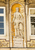Lisbon, Portugal: allegoric tiles representing water Royalty Free Stock Photography
