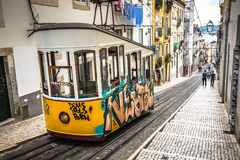 Lisbon,Portugal-April 12,2015:Ascensor da Bica bairro alto lisbo Stock Image
