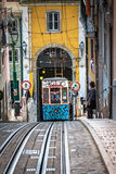 Lisbon,Portugal-April 12,2015:Ascensor da Bica bairro alto lisbo Royalty Free Stock Photography