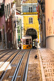 Lisbon,Portugal-April 12,2015:Ascensor da Bica bairro alto lisbo Stock Photos
