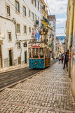 Lisbon,Portugal-April 12,2015:Ascensor da Bica bairro alto lisbo Royalty Free Stock Image