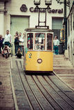 Lisbon,Portugal-April 12,2015:The Bica Funicular (Elevador da Bi Stock Image