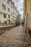 Lisbon,Portugal-April 12,2015:The Bica Funicular (Elevador da Bi Royalty Free Stock Photography