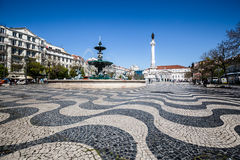 Lisbon, Portugal-April 12,2015: cityscape at Rossio Square. Royalty Free Stock Image
