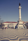 Lisbon, Portugal-April 12,2015: cityscape at Rossio Square. Royalty Free Stock Photo