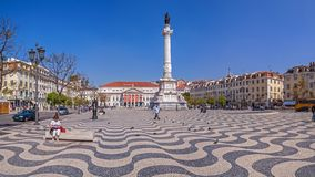Lisbon, Portugal - Rossio aka Dom Pedro IV Square with Dom Pedro IV monument, Dona Maria II National Theatre Stock Photography