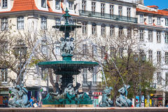 Lisbon,Portugal-April 12,2015:Rossio square with fountain locate Stock Image