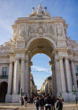 Lisbon, Portugal: Arch and the crowded Rua Augusta. The crowded Rua (street) Augusta and its neoclassic and triomphal arch that symbolizes Lisbon downtown reborn Stock Photo