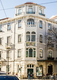 Lisbon, Portugal: art nouveau. Building in Lisbon, Portugal, that is an exemple of the art nouveau era. It is located in Ferreira Borges Street, Campo de Ourique Royalty Free Stock Images