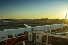 LISBON/PORTUGAL 11 AUG 2018 - Boeing 777 from the African Airline TAAG in Lisbon airport apron. Portugal. Europe stock photo